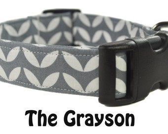 The Grayson - Gray and white Dog Collar