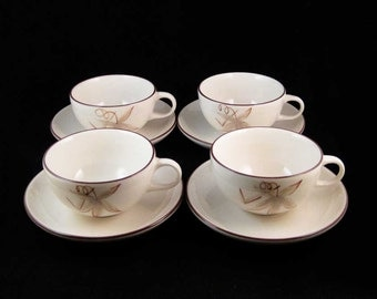 Vintage Winfield Passion Flower Tea Cups & Saucers California(8 pcs)