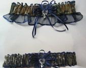 Navy Blue MOSSY OAK Camouflage wedding garters deer Camo garter