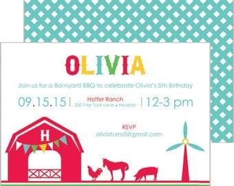 Barnyard Farm Animals Birthday Party Invitation   Set of 20 Double-Sided Invitations