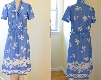 Vintage Daydress, Blue and White Office Dress, Secretary Dress