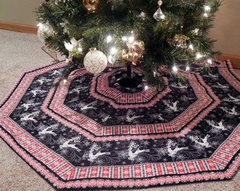 Dancing Reindeer Striped Christmas Tree Skirt in Red, Black, White &  Silver IN STOCK
