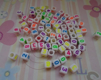 Wholesale 50pcs 6mmx6mm colorful Acrylic Arabic number Beads with 3mm Hole