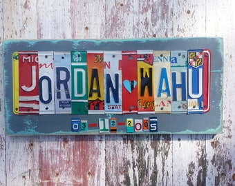 10th Wedding Anniversary Tin Aluminum Gift - 10 year wedding anniversary gift for man husband men License Plate Sign Name Word PersonalizedI