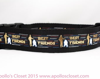 Droid Best Friends Dog Collar - 1.5 inch wide - space dog collar - star dog collar - nerd dog collar  geek dog collar - geeks and nerds  BFF