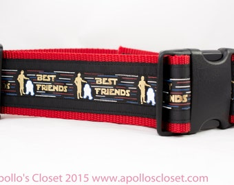 Droid Best Friends Dog Collar - 2 inch wide - space dog collar - star dog collar - nerd dog collar  geek dog collar - geeks and nerds  BFF