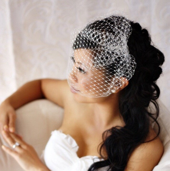 9 inch Birdcage Veil (Gold or Silver)