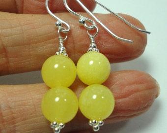 Lemon Yellow Jade Earrings with Sterling