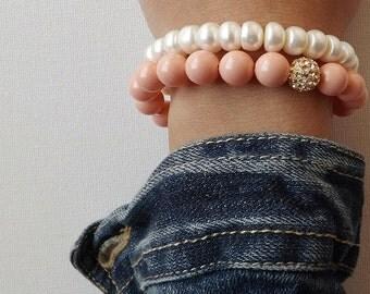 Coral Bracelet, Coral Stretch Bracelet, Beach Bracelet, Bridesmaids Bracelet, Summer Bracelet, Wedding Jewelry