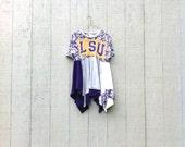 funky LSU tunic Dress - upcycled clothing women's clothing tattered and raw / shabby chic artsy cltohing CreoleSha