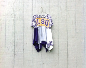 funky LSU tunic Dress - upcycled clothing women's clothing tattered and raw / shabby chic artsy cltohing CreoleSha