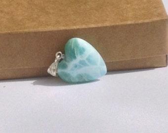 Aquamarine Larimar heart pendant Blue Larimar heart blue jewelry