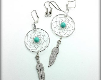 Silver Plated Wire Dreamcatcher Earrings Custom Made to Order Your choice Earwire and Bead Color