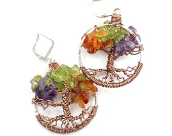 Four Seasons  Tree of Life Earrings  with Genuine Gemstone Foliage in Amethyst Peridot and Carnelian Custom Made To Order