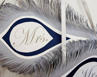 Mr. and Mrs. Wedding signs FEATHERS  in silver and Navy blue