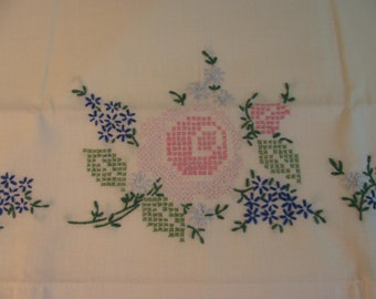 Hand Embroidery Pillowcase in a Vintage Cross Stitch Floral Design - Pink and Blue Green -