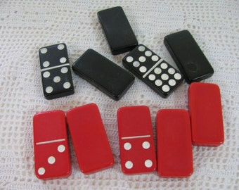 Vintage Red or Black Dominoes Selling Sets of Five - Your Choice of Color