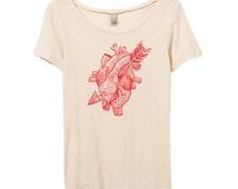 Womens Anatomical Heart Shirt - Organic Cotton -  Heart & Arrow Tshirt - Small, Medium, Large, XL