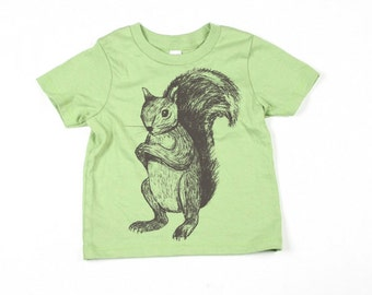 Kids Green Squirrel Tshirt  - Eco-Friendly - Organic - Avocado -Toddler - Small, Medium, Large - Boy - Girl