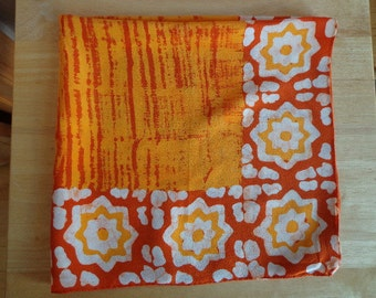 Vintage Batik Scarf in Autumnal Colors