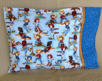 Cowgirls and cowboys pillowcase -travel pillow