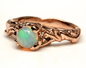 14k rose gold opal ring little branches  NYC Blue Bayer Design
