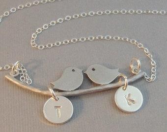 Love Birds,Necklace,Bird,Bird Necklace,Initial,Monogram Silver Necklace,Bird,Mommy,Baby,Little,Girl,Bird Necklace,Pendant,valleygirldesigns