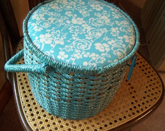 Vintage Turquoise Floral Sewing Basket, Round w/Handle, Mid Century