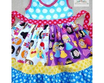 Knit Woven Pattern, Girls Dress Pattern, Ruffle Dress Pattern, Girls Sewing Pattern, Long Sleeve Dress, K Pea Inspired Pattern, Blue Ribbon