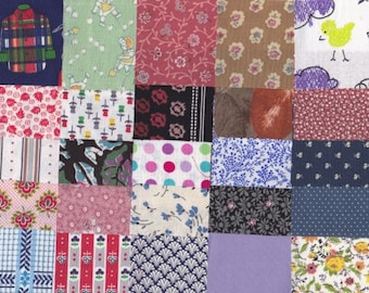 Vintage Fabric Precut 2 1/2 Inch Square Pieces 25 Cotton Material 4 Charm Quilting Sewing Projects Variety Pack 10 K