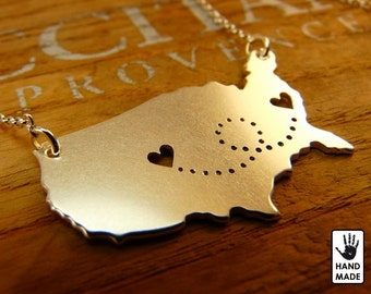 UNITED STATES Map with Two Hearts Handmade Personalized Sterling Silver .925 Necklace in a gift box