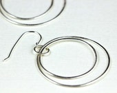 Silver Hoop Earrings, Large Double Circles, Sleek Modern Minimalist Geometric Earrings, Simple Elegance Earrings - Courtney Earrings