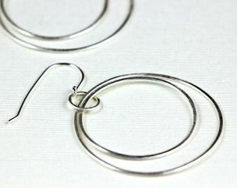 Silver Hoop Earrings, Large Double Circle Earrings, Sterling Silver Earrings, Geometric Earrings, Statement Hoop Earrings, Courtney Earrings