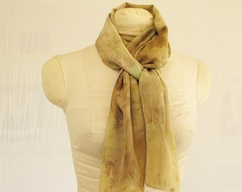 "Silk Scarf - Eco Fashion - Plant Dyed Ecoprint - Natural Dye - Brass Olive Green Violet - CDC041505 -  11""x56"" (28 x 142cm)"