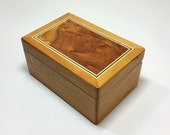 wooden stash box Cherry with awesome Redwood Burl lid