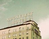 Los Angeles Photography, Roosevelt Hotel, Mint Green, Gold, Hollywood Photo, Vintage, Retro, California Print