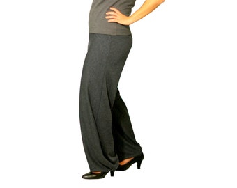 Wide pants with wide waist, Draped pants, Custom pants, Plus size pants, Womens pants, Gray pants, Trousers, Plus size, Pants, Made to order