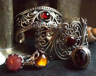 Garnet cuff, Gypsy jewelry, statement cuff, Wide Cuff,  bohemian cuff, silver gold cuff, filigree bracelet - Because you're mine B3000