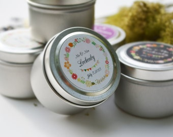 50 Wedding Favors Soy Candles in 2 Oz.Travel Tin with Personalized Label