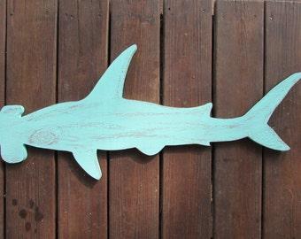 Reclaimed Wood Hammerhead Shark Wall Hanging. Handmade Shark Sign. Hammer Head Shark. Made to order