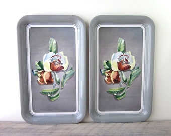 Vintage TV Trays Grey Metal Snack Tracys Art Deco Flower Design Set of Two
