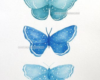"butterfly trio original watercolor 11"" x 14"""