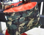 Reserved Listing Christina Wood-Takatsuka -- Kids Green Pixel Camouflage Bike Basket Orange Interior