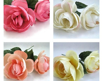 Artificial Silk Flowers 2 White Flowers Yellow Flowers Peony Flower Cabbage Rose Wedding Flower Stem Flower DIY Flower Millinery Flower Fake