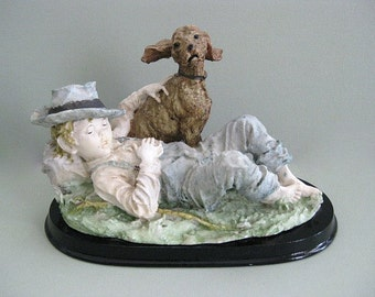 Boy and Dog Figurine Dog Sculpture Country Boy Figurine Farm Boy Sculpture Dog Statue Boy Statue Country Decor Boys Room Decor Farmhouse