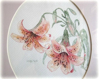 Original Watercolor Flower Painting Pink Flower Art Flower  Watercolor Floral Painting Pink Floral Watercolor Framed Matted Shabby Chic Lily