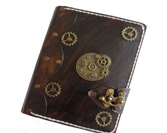 Refillable leather journal - steampunk leather journal - leather journal - vintage leather journal - leather notebook - brown journal