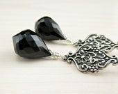 Black Spinel Earrings, Bali Sterling Silver, Black Dangle Earrings, Black Teardrop, Black Gemstone Everyday Black Drop, Black Spinel Jewelry