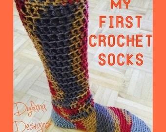Crochet Socks Pattern PDF, Instant download, Easy Crochet Slipper Socks, Crochet your own socks, Digital download, Instructional