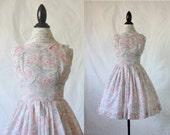c1950's Sheer Floral Mini Dress S